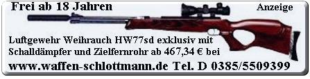Das Luftgewehr Sondermodell Weihrauch HW77k sd mit aufgeschraubtem Schalld�mpfer und sehr gutem Zielfernrohr bei Waffen Schlottmann / Schauen Sie die Pr�sentationsvideos!