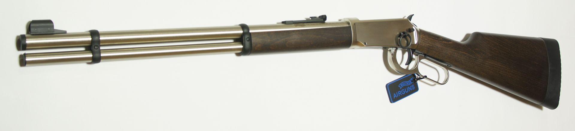 CO2 Winchester, Walther Lever Action, steel finish / Das Visier entspricht dem historischen Vorbild und ist in der Höhe verstellbar.