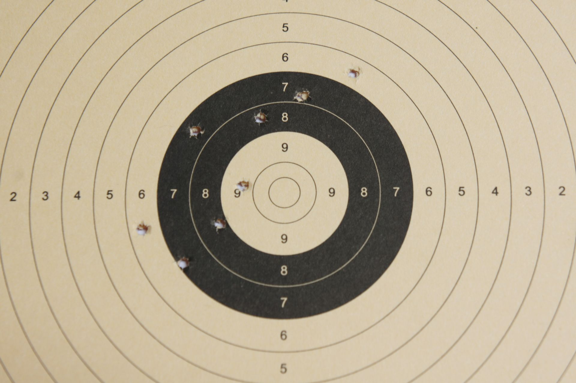 Ein Trefferbild der CO2 Pistole auf 6m mit BB- Stahlkugeln (8 Schuss)