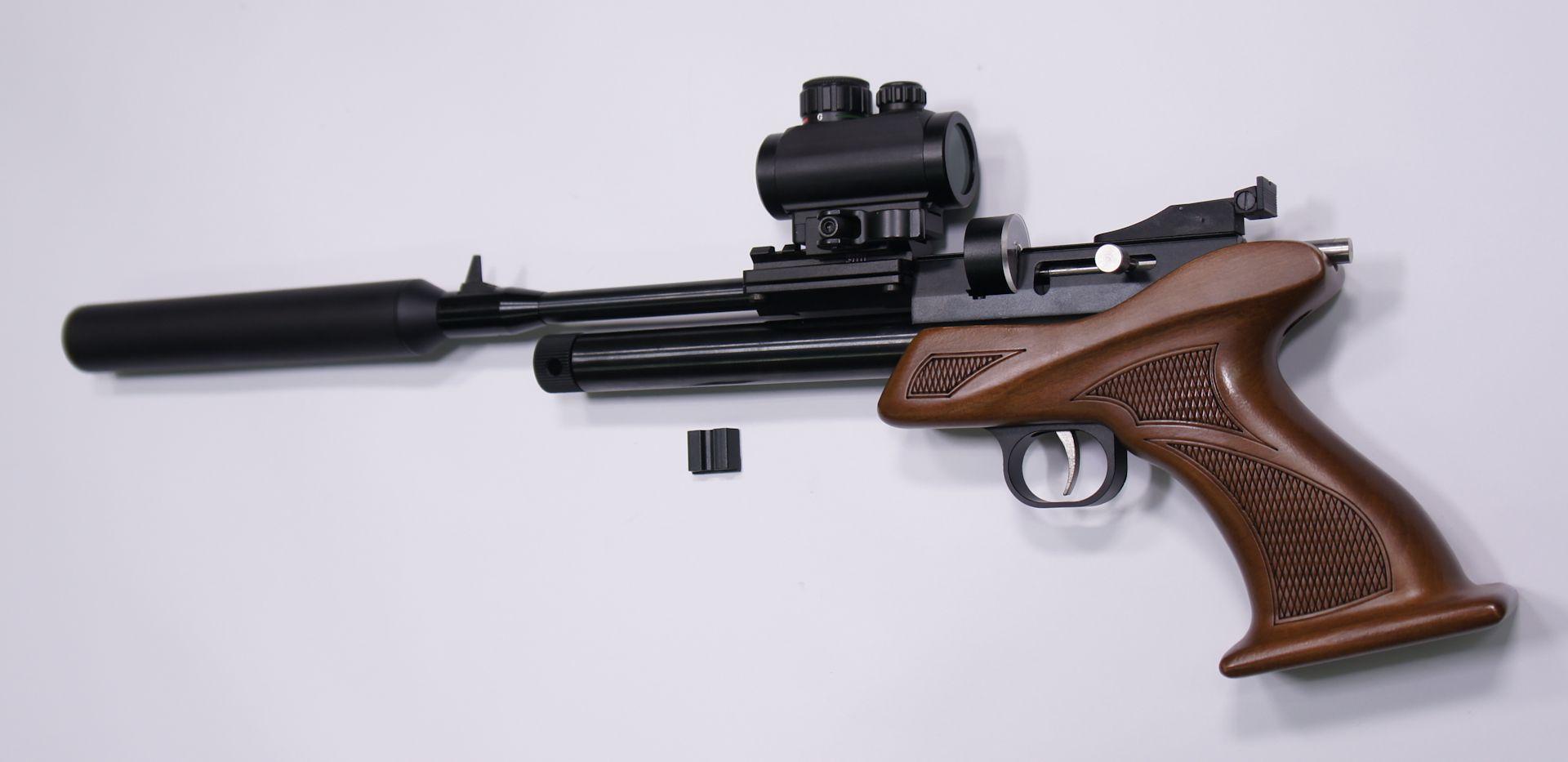 Wie bei diesem Beispiel, kann ich Ihnen auch für diese Pistole ein passendes <a href=1130221.htm> Leuchtpunktvisier </a>anbieten. Für dessen montage ist zusätzlich auch eine <a href=1130667.htm> Lauf- Montagebasis </a> erforderlich.