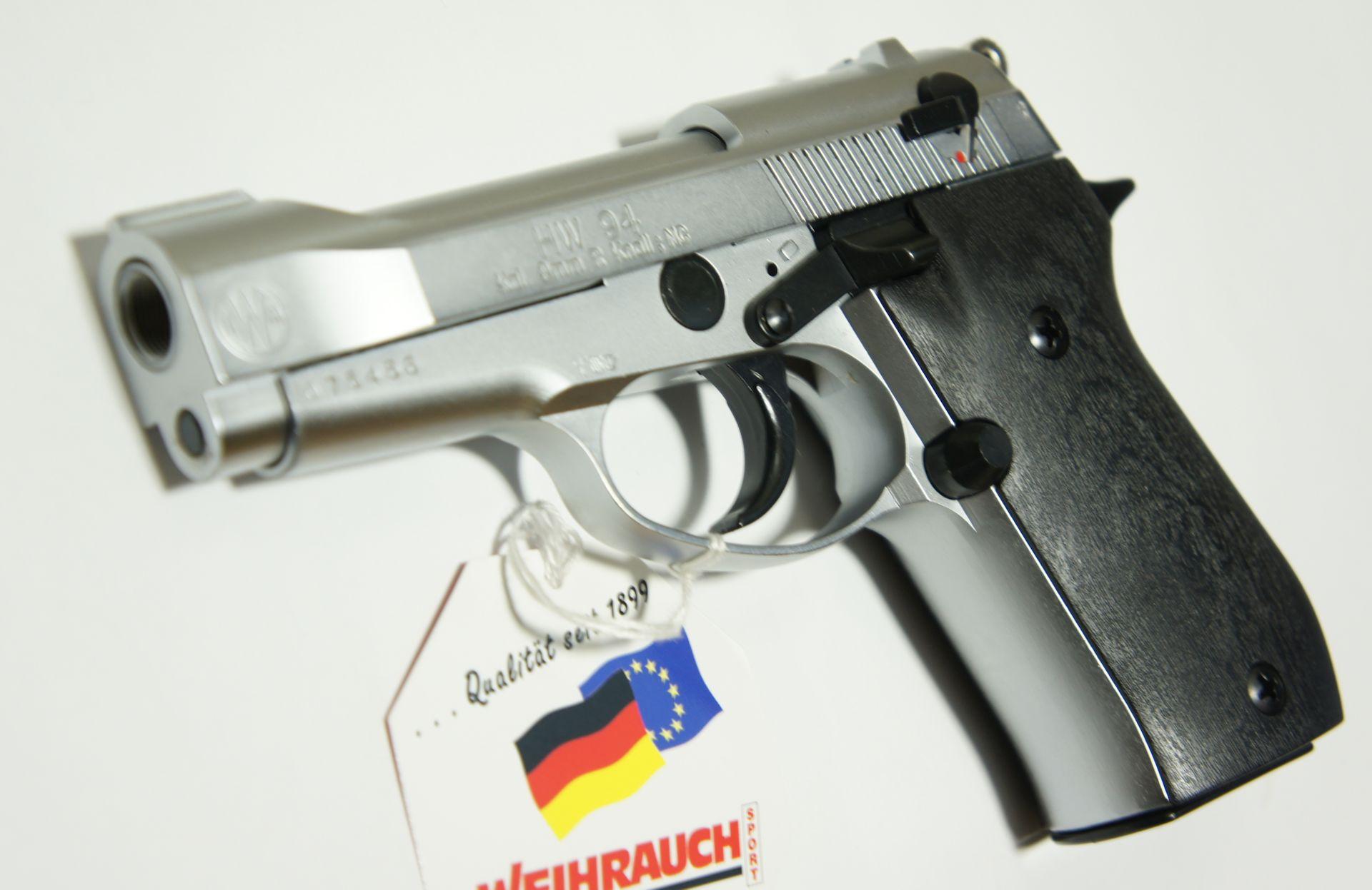Gas + Signal Pistole HW 94 stainless Look von vorne. Ein Abschussbecher gehört zum Lieferumfang.