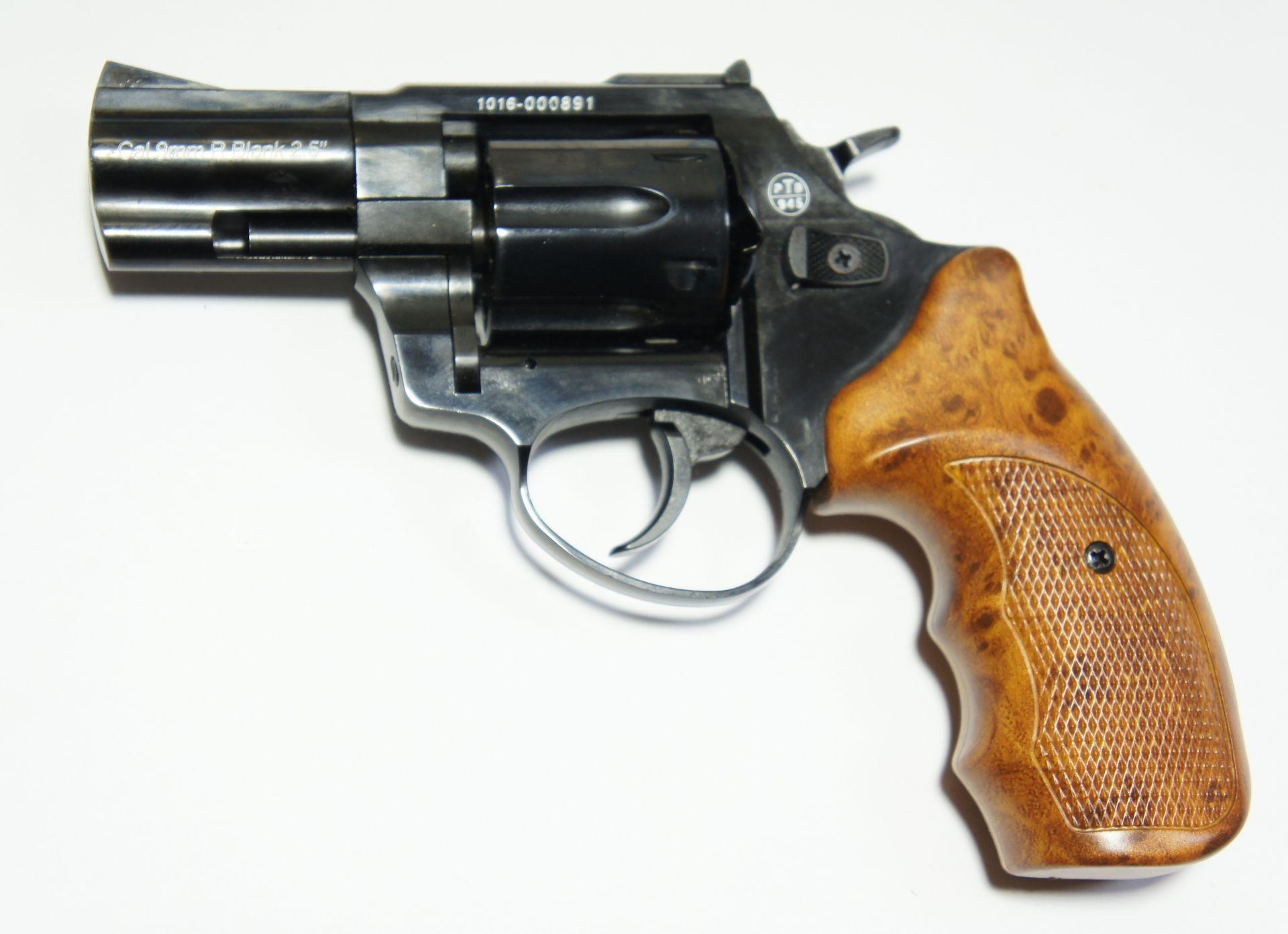 Zoraki R1 Shiny, Gas und Signal Revolver, schwarz Griff Holzimitat