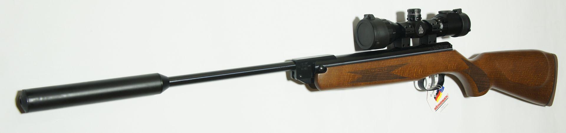 Luftgewehr Weihrauch HW 30 K (S) mit aufgeschraubtem <a href=1168812.htm>Schalldämpfer</a>  und montiertem Zielfernrohr <a href=11301155-11.htm>UTG Compact 3-9x32</a>