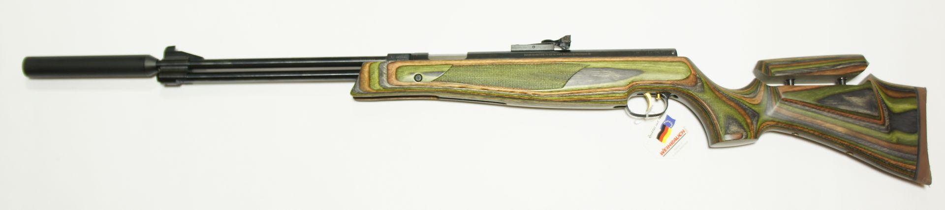 HW 77 K sd grüner Schichtholzschaft mit verstellbarer Schaftbacke ohne ZF 4,5mm