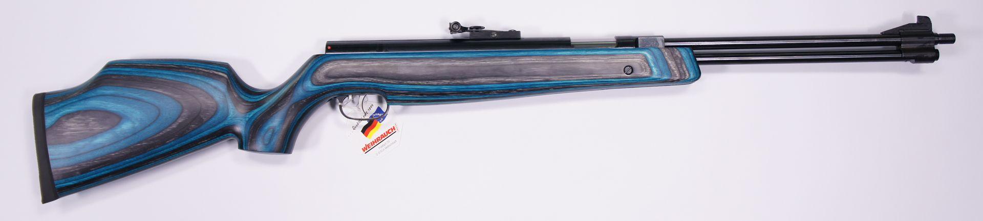 Luftgewehr HW 77 K mit Laufgewinde, Zieloptik von Walther, blauem Schichtholzschaft und Schalldämpfer
