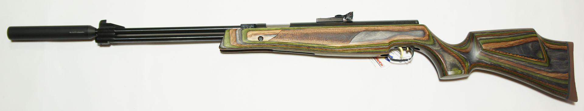 Luftgewehr HW 77 K Kal. 5,5mm mit Laufgewinde und Schalldämpfer im grünen Schichtholzschaft