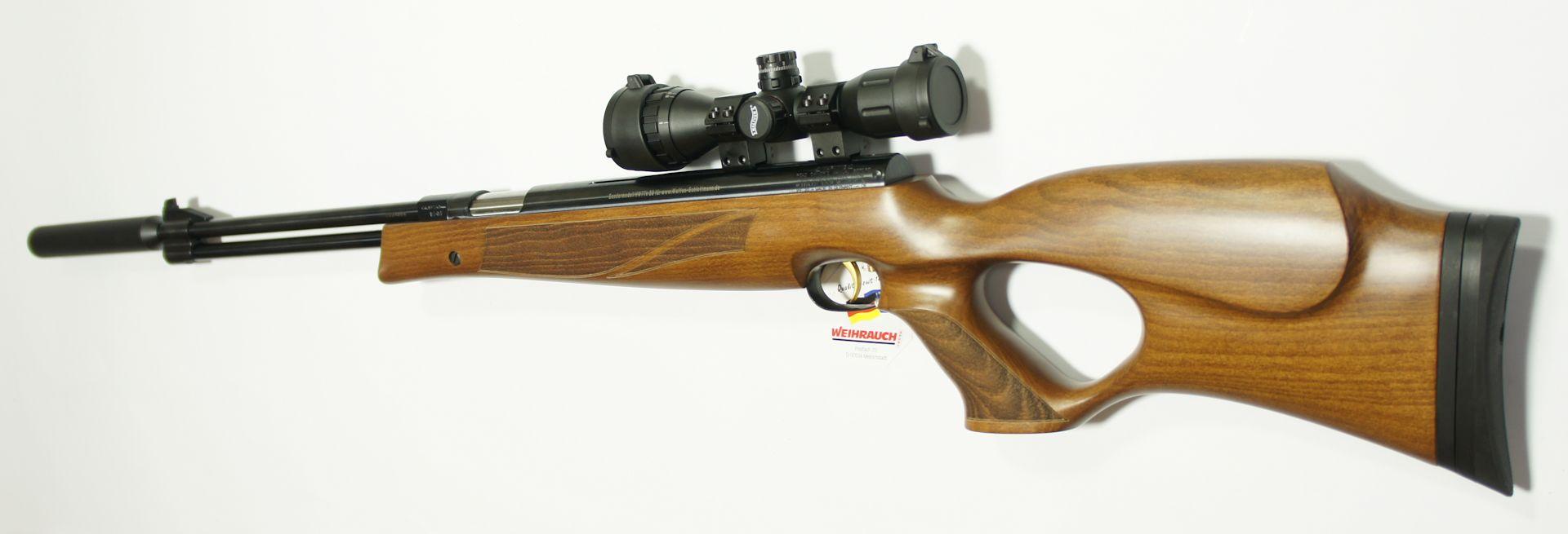 Luftgewehr HW 77 verstellbarer Lochschaft  mit Zielfernrohr, Laufgewinde und Schalldämpfer von vorne