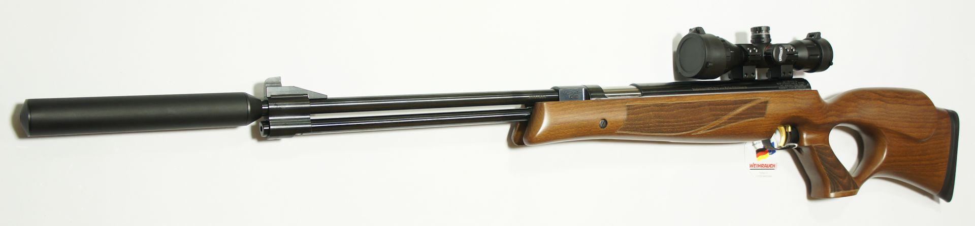 Luftgewehr Weihrauch HW 77 verstellbarer Lochschaft  mit Zielfernrohr, Laufgewinde und Schalldämpfer