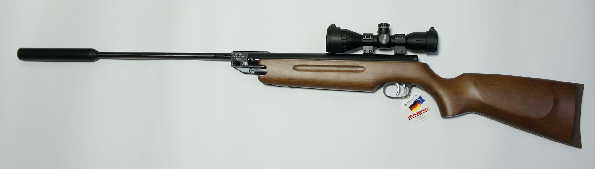 Luftgewehr HW 35 mit Schalldämpfer und Zielfernrohr