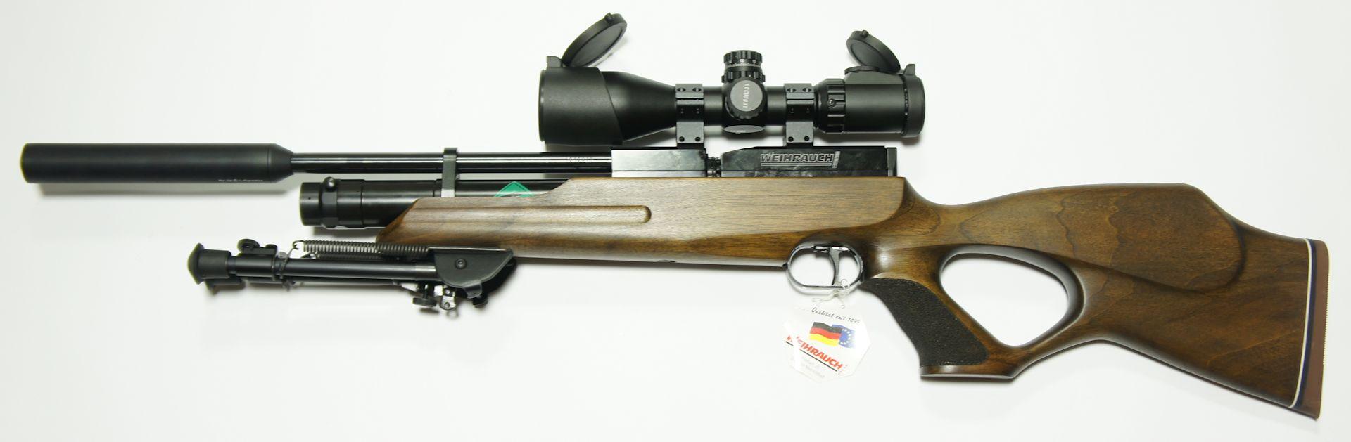 Weihrauch HW100 TK sd Pressluftgewehr mit Lochschaft, Zweibein und ZF