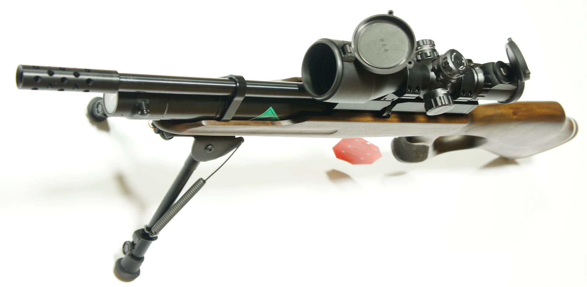 Montagebeispiel mit Kompensator anstelle vom Schalldämpfer am Luftgewehr HW 100 TK
