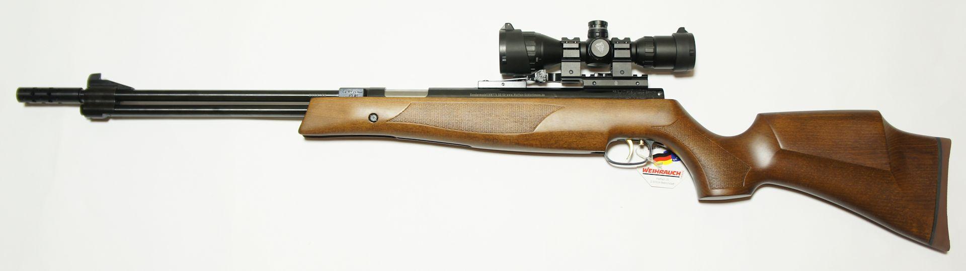 Starkes Luftgewehr Weihrauch HW 77 K sd mit Kompensator und jagdlicher Schäftung mit ZF