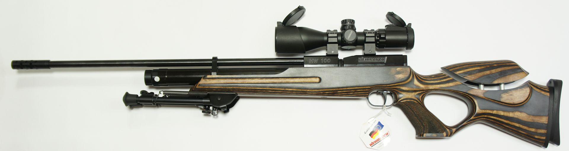 Weihrauch HW100 T sd Pressluftgewehr mit verstellbarem Schichtholzschaft, Zweibein und ZF