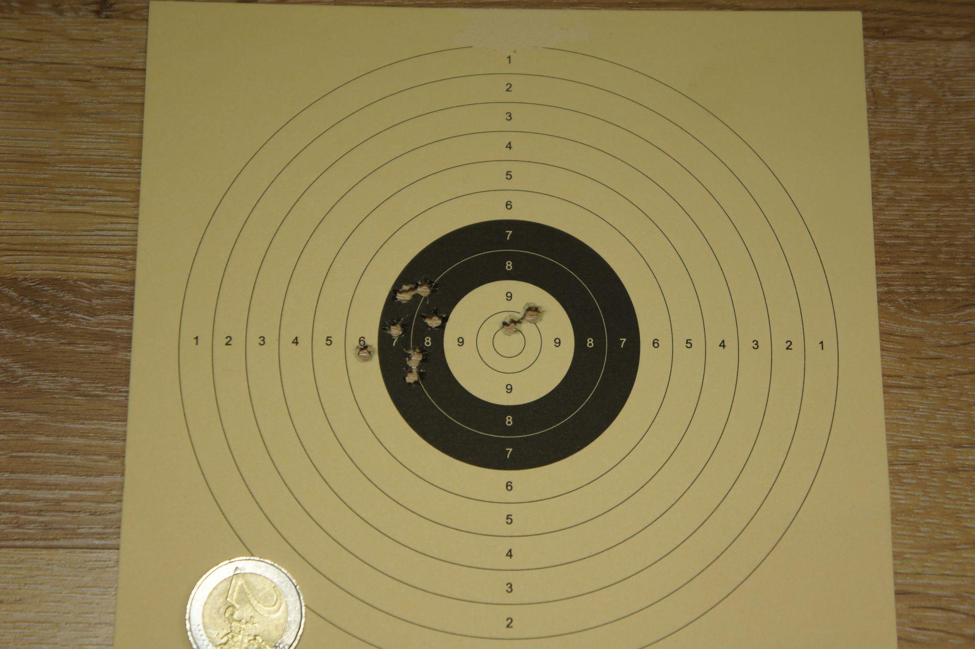 Treffenbild mit HW 100 S FAC 4,5mm auf 50m mit Geschossen H&N Baracuda Match
