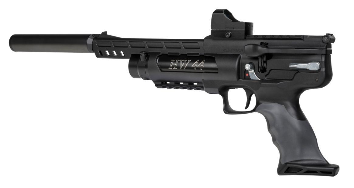 Montagebeispiel Luftpistole HW 44 mit <a href=1130222-21.htm>Reflexvisier</a> und passendem <a href=1168821.htm>Schalldämpfer</a>