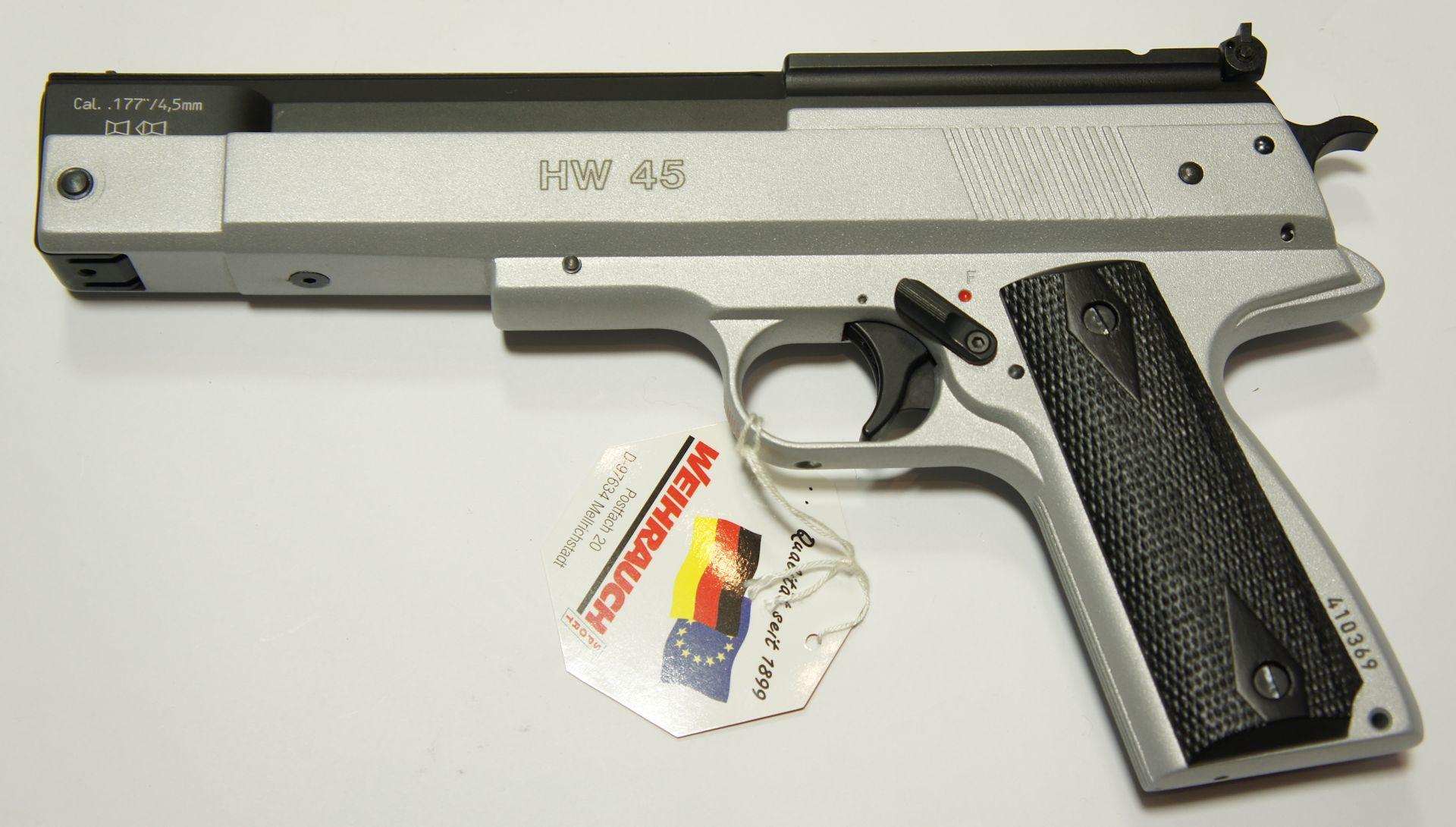 Luftpistole HW 45 Kaliber 4,5mm, Silberfinish