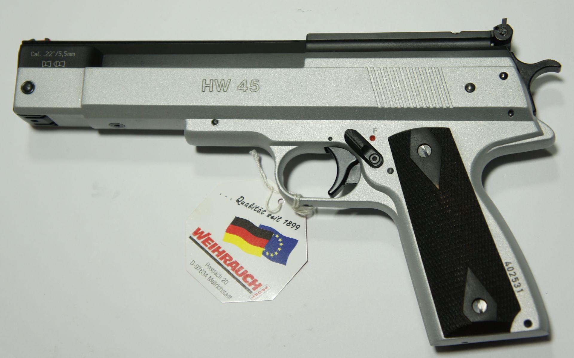 Luftpistole HW 45 Kaliber 5,5mm Silberfinish