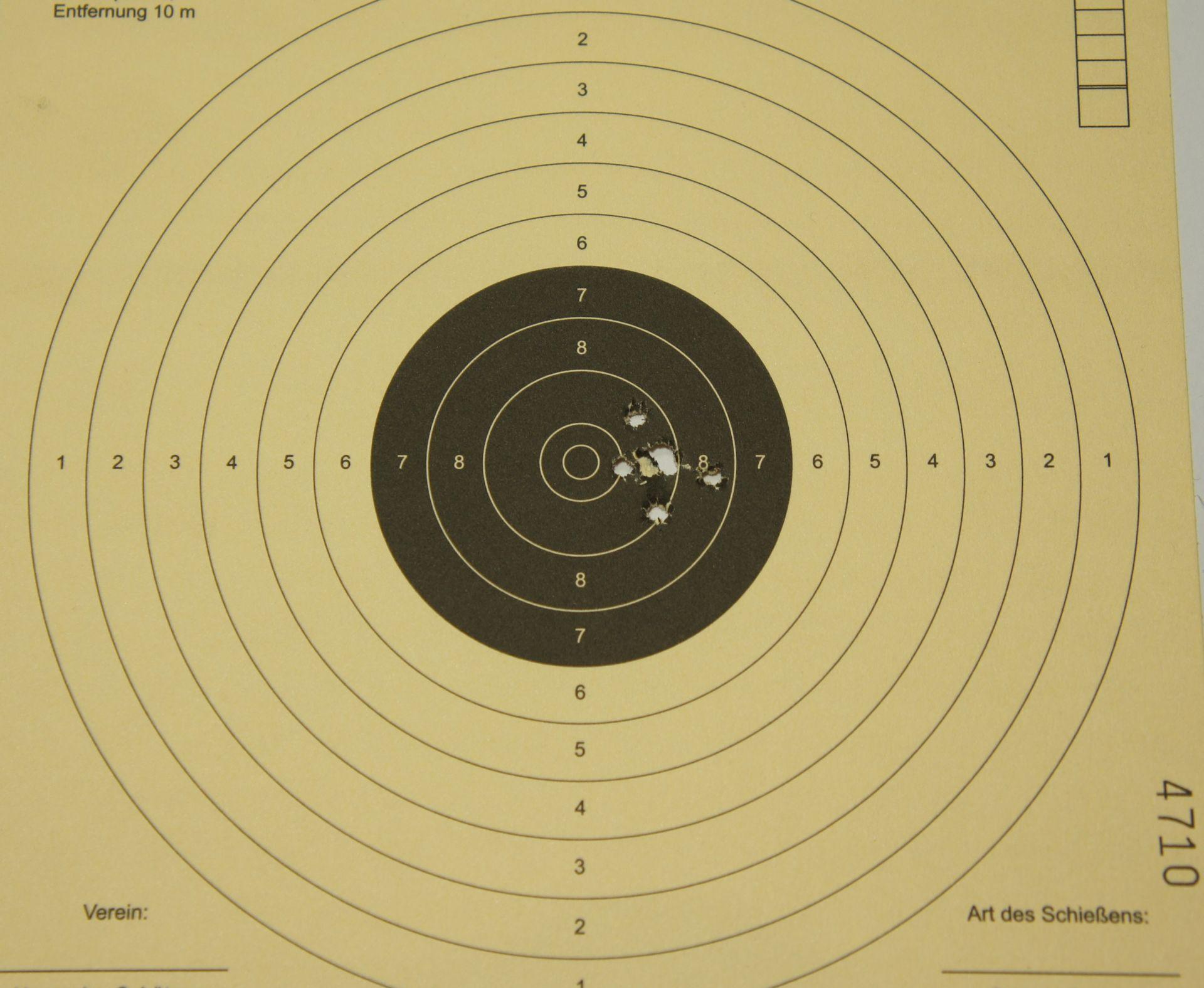 Trefferbild 6 Schuss auf 10m mit den Geschossen Field Target Trophy Match 4,50
