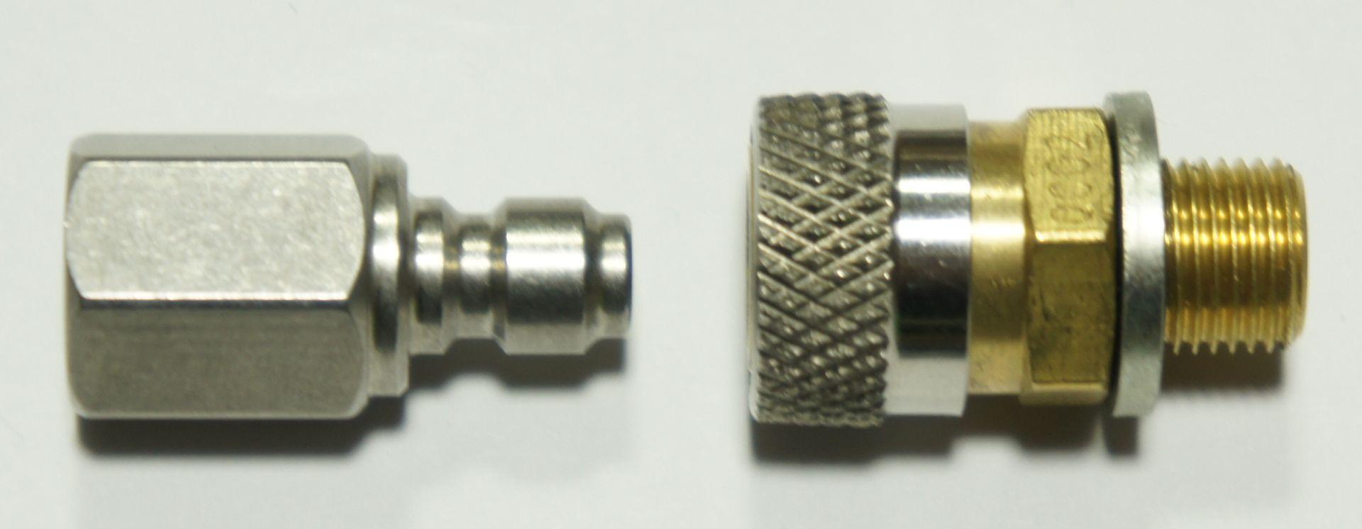 Wenn an dem Schlauch der Stecker zur Waffe schnell gewechselt werden soll, wäre so <a href=1165554.htm>eine Schnellkupplung </a> eine gute Ergänzung.