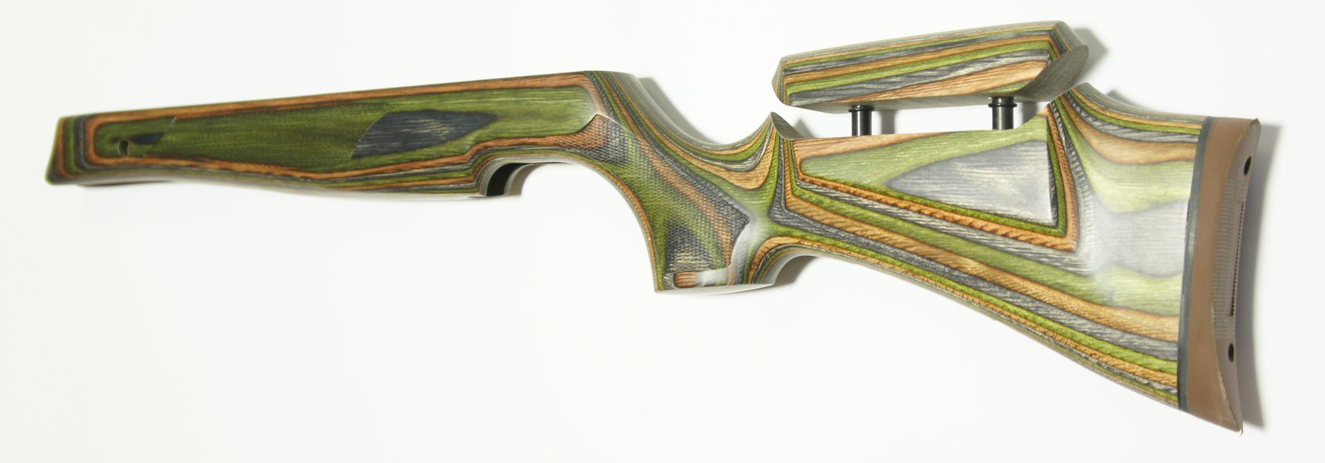 grüner Schichtholzschaft HW 77 mit stufenlos verstellbarer Backe