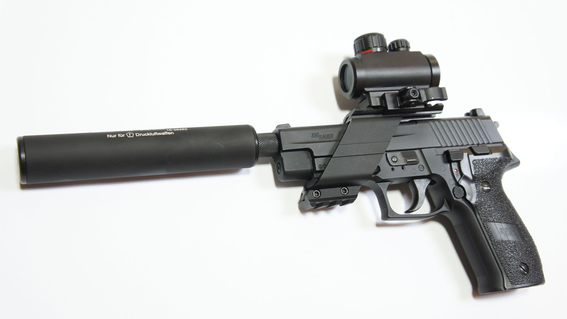 Montage beispiel mittes Adapter (auf Gewinde 12x1)an einer CO2 Pistole SIG 226