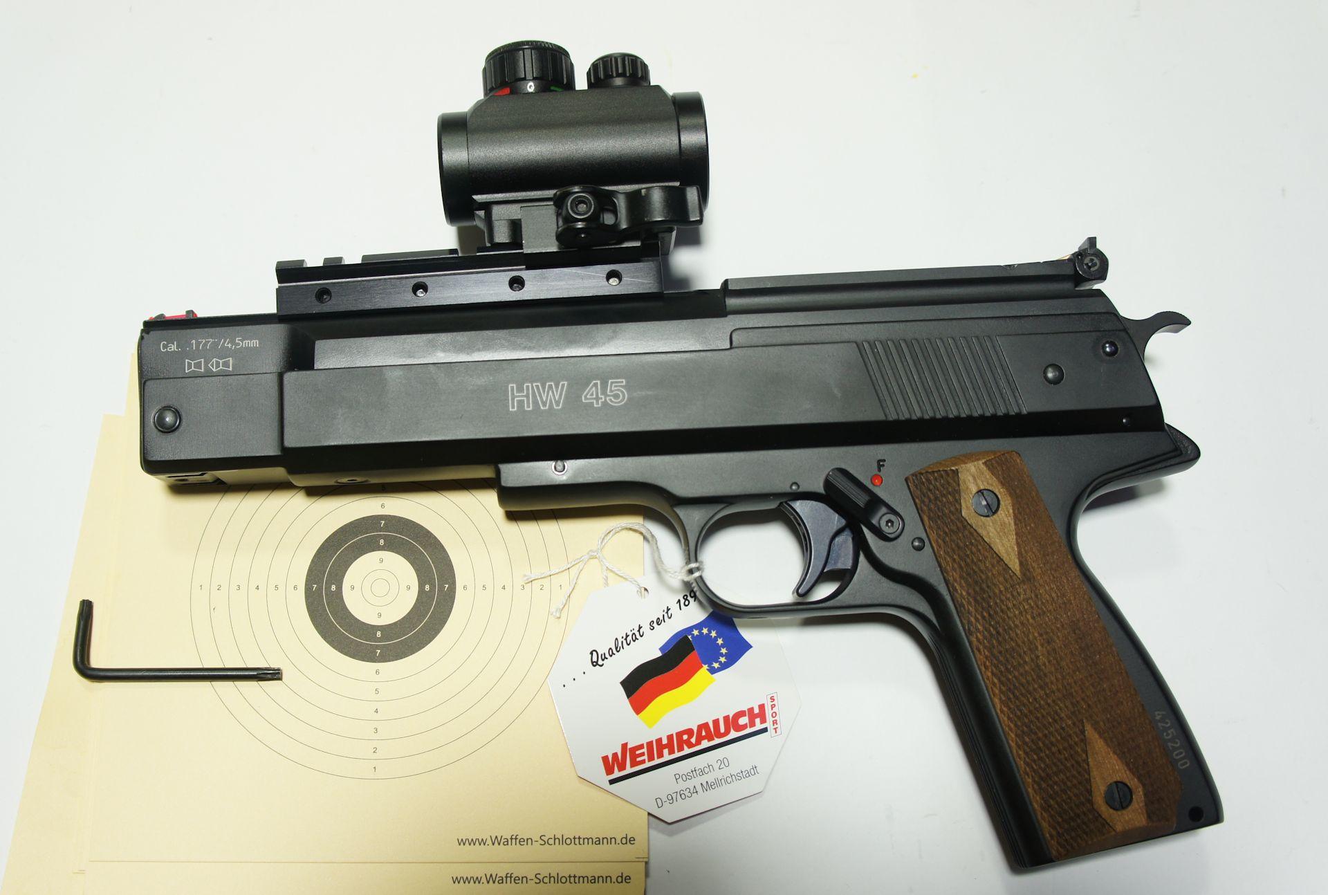 Montagebeispiel an der Luftpistole HW 45 / Die Linsen sind durch Gummikappen geschützt. Solche Geschosse der Marke Mittels der Schnellspannmontage ist dieses kleine, kompakte Visier eine optimale Ergänzung auf vielen Waffen. Solche Geschosse der Marke H&N würde ich zu dieser Pistole empfelen.