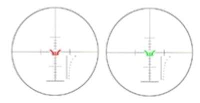 Das Scharfschützenabsehen kann im Zentrum rot oder grün beleuchtet werden.
