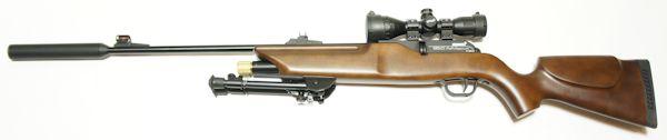 Anwendungsbeispiel mit dem CO2 Luftgewehr 850 Airmagnum mit aufgesetztem Schalldämpfer.
