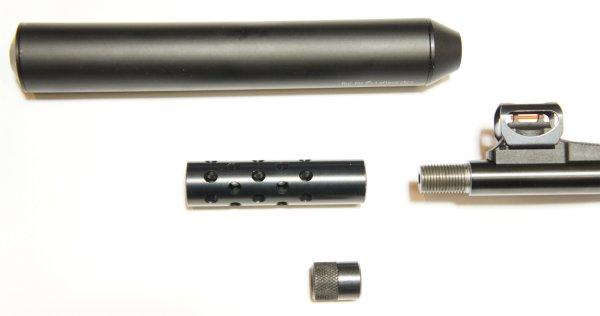 Hier ist das Laufgewinde am Luftgewehr Walther Dominator und mögliches Zubehör, wie <a href=../1168812.htm>Schalldämpfer</a> zu sehen.