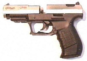 Walther CP99 bicolor, CO2 Pistole  mit vernickeltem Schlitten