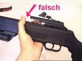 Beim Schießen mit einer Armbrust muss man die Finger flach halten und dard nicht über die Schiene greifen.