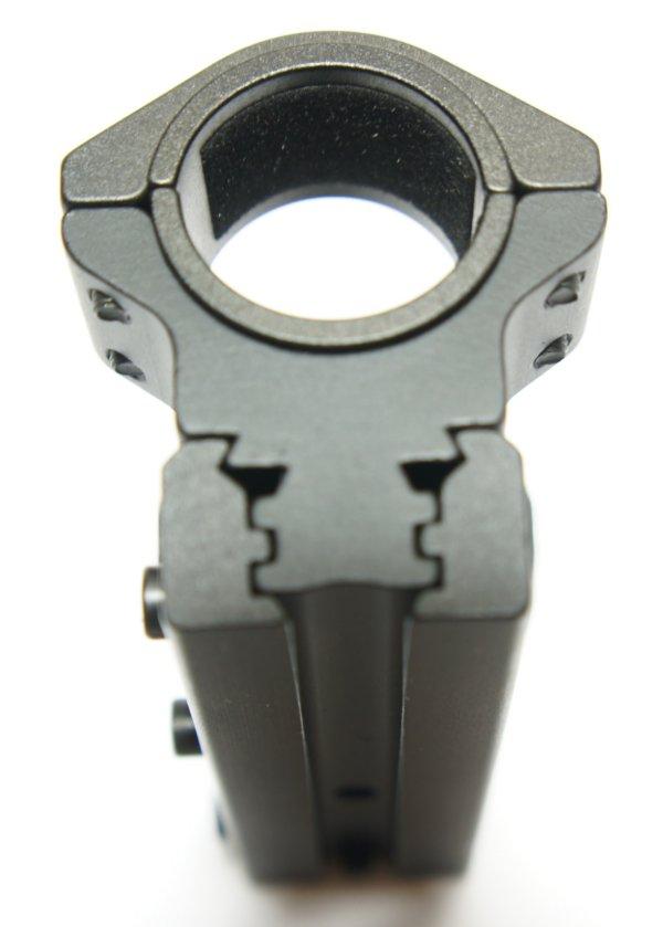 die Universalmontage für 11mm und für 21mm Schienen, sowie Rohrdurchmesser 1 Zoll und 30mm mit Stopperstift