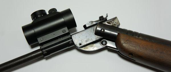 Montagebeispiel am Luftgewehr Haenel Modell 3 mittels einer praktischen <a href=1130667.htm>Lauf- Montagebasis</a>