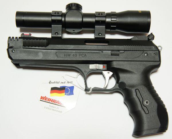 Montagebeispiel: das Pistolenzielfernrohr auf einer <a href=1160101.htm>Luftpistole HW 40</a>