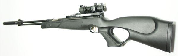 Luftgewehr HW 77 black lline  mit Red Dot, Laufgewinde und Schalldämpfer im Lochschaft aus Kunststoff