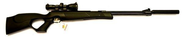 Luftgewehr HW 77 black lline  mit Zielfernrohr, Laufgewinde und Schalldämpfer im Lochschaft aus Kunststoff