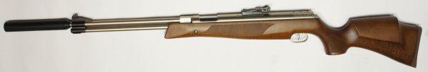 vernickeltes Luftgewehr HW 77 K sd mit Schalldämpfer mit jagdlicher Schäftung