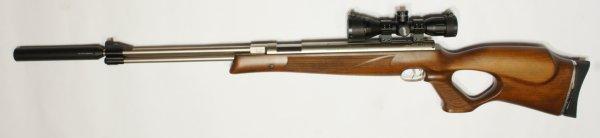 vernickeltes Luftgewehr HW 77k sd mit hölzernem Lochschaft und Schalldämpfer und Angebote zum Zielfernrohr