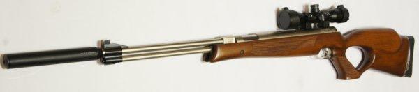 Montagebeispiel: vernickeltes Luftgewehr HW 77 im Lochschaft mit Zielfernrohr, Laufgewinde und Schalldämpfer