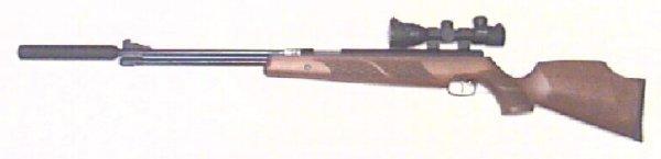 Montagebeispiel Weihrauch HW 77 K mit Zielfernrohr und Schalldämpfer
