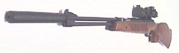 Montagebeispiel HW77 K mit Zielfernrohr und Schalldämpfer
