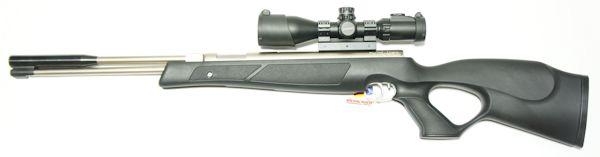 Montagebeispiel: vernickeltes Luftgewehr HW 97k black line STL mit <a href=../1130118_SCP3-UM312AOIEW_UTG_3-12x44.htm>Zielfernrohr UTG 3-12x44</a>