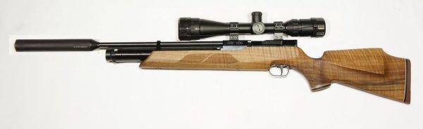 Weihrauch HW 100 S Pressluftgewehr mit jagdlichem Schaft, Zweibein, Schalldämpfer und Zielfernrohr