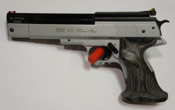 Luftpistole HW 45 silver star Kaliber 5,5mm mit Sportgriff