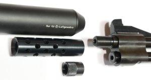 Wenn Sie Wert auf einen Schalldämpfer legen, sollten Sie sich das gleiche gewehr in entsprecht andere Ausführung anschauen. Das wäre dann das <a href=11604-45S.htm>Modell HW 77 K sd mit verstellbarer Schaftbacke.</a>