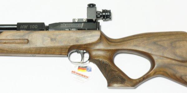 Montagebeispiel am Luftgewehr HW 100 mit Anschütz Irisblende