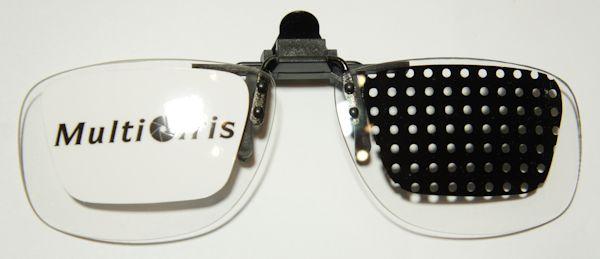 Multi Iris Brillenaufsatz, Links und klar