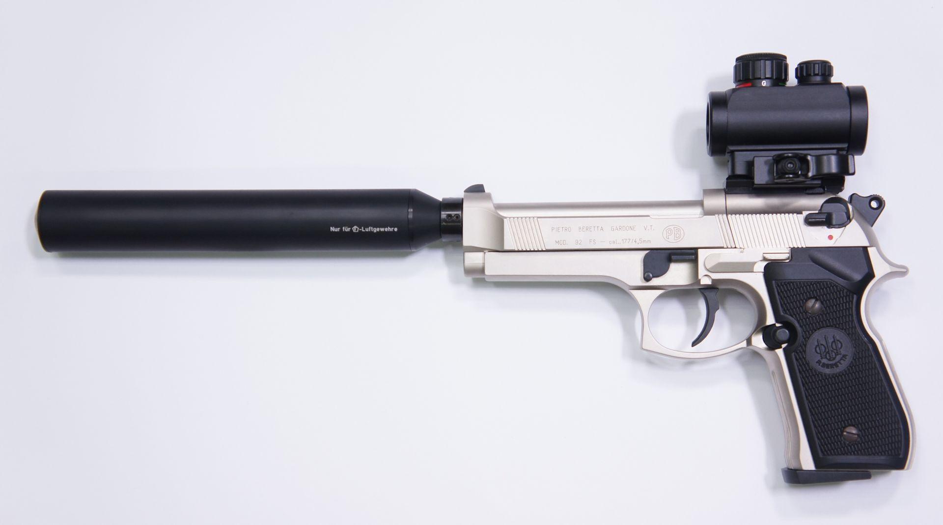 RTU Set mit der CO2 Pistole Modell Beretta 92FS vernickelt