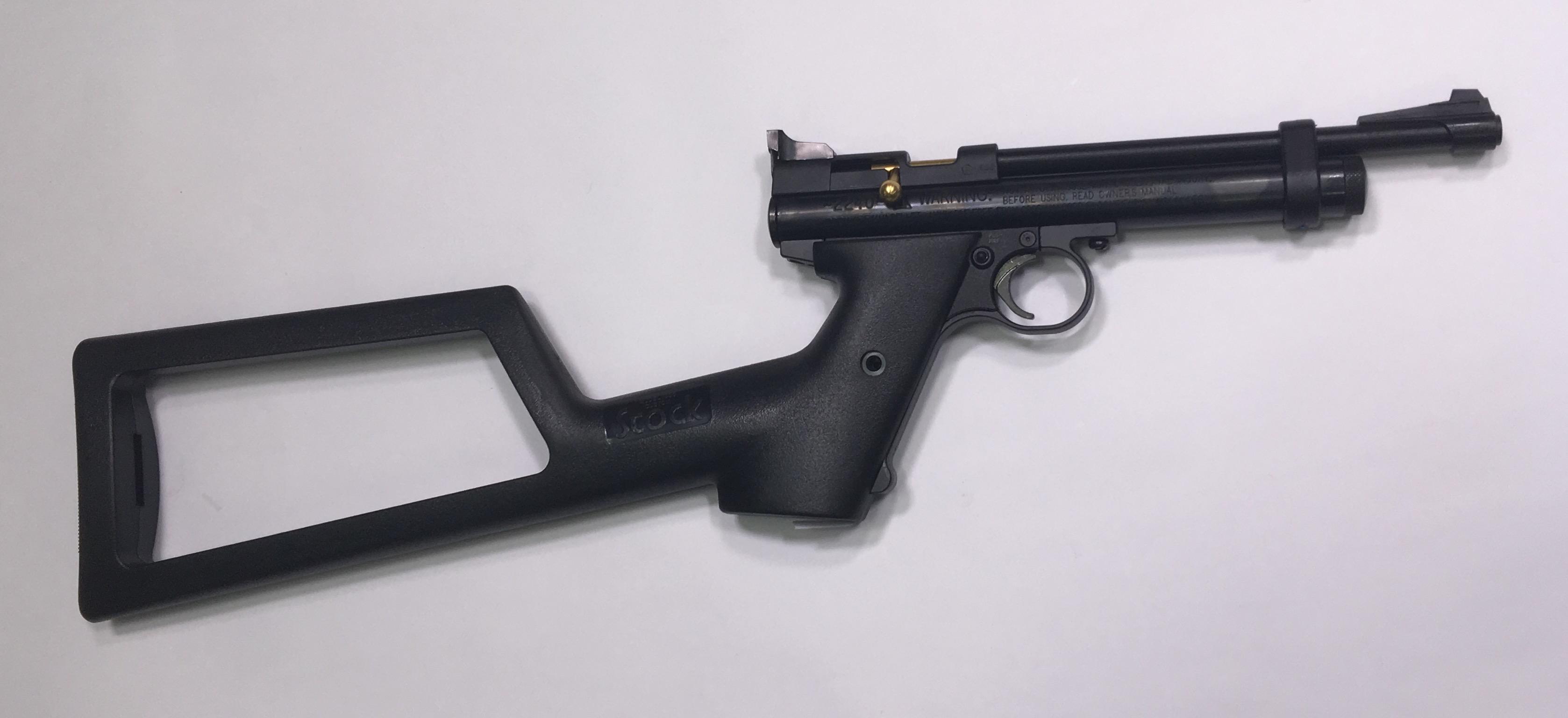 Montagebeispiel zum Anschlagschaft an der CO2 Pistole Crosman 2240