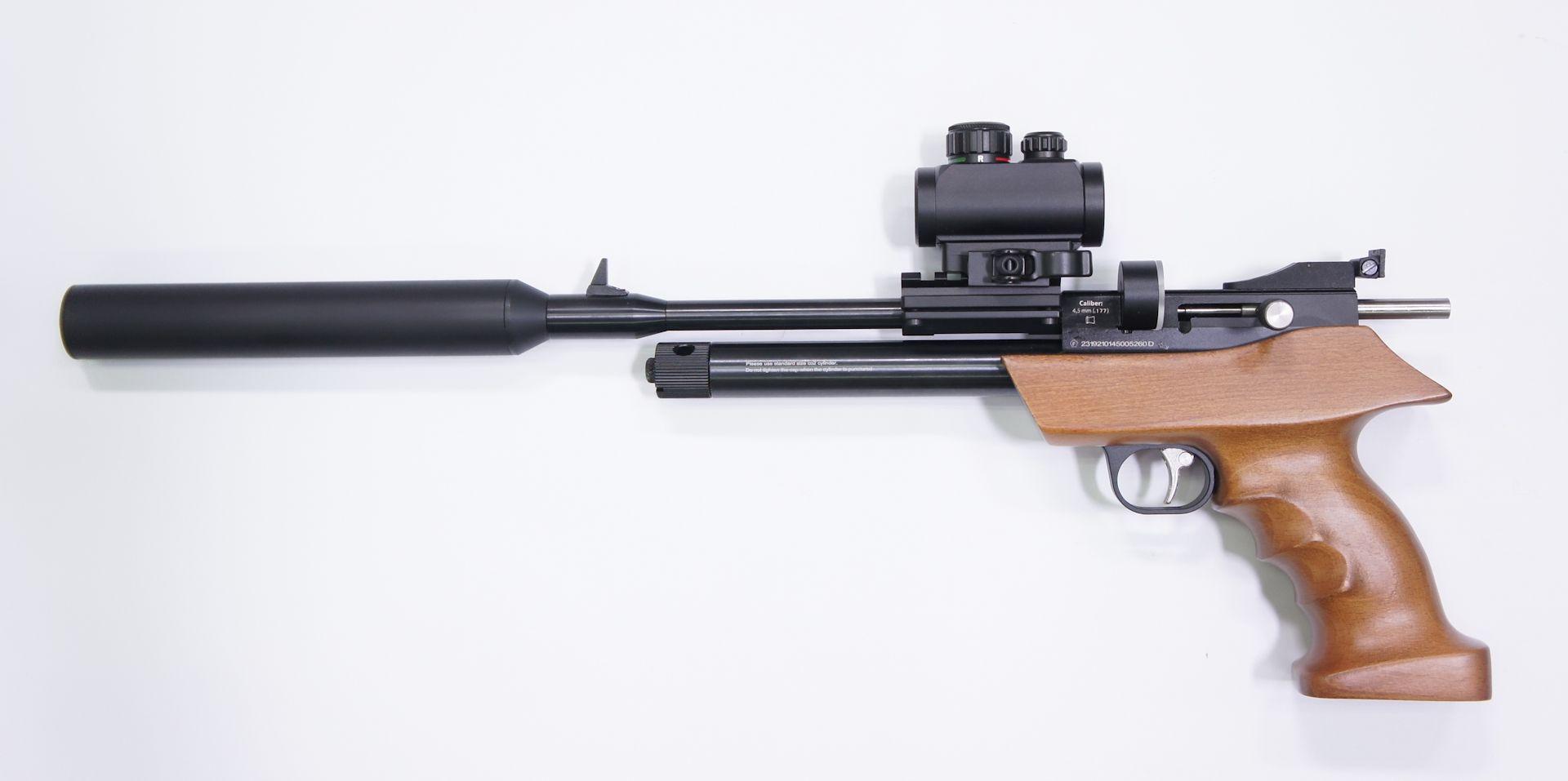 Set aus CO2 Repetierluftpistole Diana airbug mit Optik, Schalldämfer und Zubehör